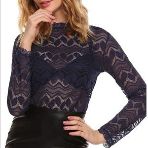 Tops - Lace See-Trough Blouse